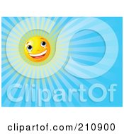 Royalty Free RF Clipart Illustration Of A Cheery Sun Face Shining In A Clear Blue Sky by Pushkin