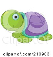 Royalty Free RF Clipart Illustration Of A Cute Sea Turtle With A Green And Purple Shell by Pushkin