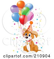 Cute Beagle Puppy Dog Holding Balloon Strings In His Mouth And Wearing A Party Hat