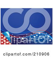 Royalty Free RF Clipart Illustration Of A Blue Stars And Ribbons Wave Page Turning Over Stars