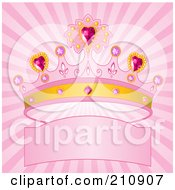 Royalty Free RF Clipart Illustration Of A Bursting Pink Background With A Princess Crown Over A Banner