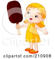 Royalty Free RF Clipart Illustration Of A Cute Toddler Girl Holding An Ice Pop by Pushkin