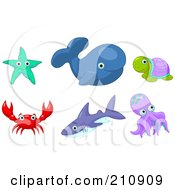 Digital Collage Of A Starfish Whale Turtle Crab Shark And Octopus