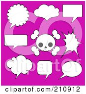 Royalty Free RF Clipart Illustration Of A Digital Collage Of Black And White Speech Bubbles And A Cute Skull Over Pink by Pushkin