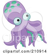 Royalty Free RF Clipart Illustration Of A Purple Octopus With Green Spots by Pushkin