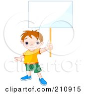 Royalty Free RF Clipart Illustration Of A Cute Toddler Boy Proudly Holding Out A Blank Sign