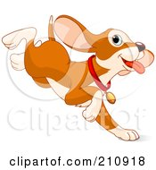 Royalty Free RF Clipart Illustration Of A Cute Beagle Puppy Jumping And Running With His Ears Flapping