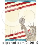 Royalty Free RF Clipart Illustration Of An American Grunge Background Of The Statue Of Liberty Over Distressed Stars And Stripes