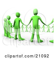 Clipart Illustration Of A Closeup Of Green People Hand In Hand Standing In A Circle Of Support