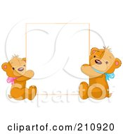 Royalty Free RF Clipart Illustration Of Two Cute Teddy Bears Holding Up A Blank Sign