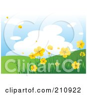 Royalty Free RF Clipart Illustration Of A Hilly Landscape Background With Yellow Flowers