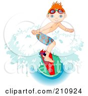 Royalty Free RF Clipart Illustration Of A Sporty Young Boy Riding A Wave On A Surfboard by Pushkin