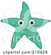 Royalty Free RF Clipart Illustration Of A Smiling Green Starfish With Blue And Purple Spots