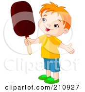 Royalty Free RF Clipart Illustration Of A Cute Toddler Boy Holding An Ice Pop by Pushkin