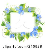 Frame Of Green Leaves And Beautiful Blue Flowers