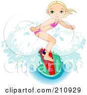 Royalty Free RF Clipart Illustration Of A Sporty Young Girl Riding A Wave On A Surfboard
