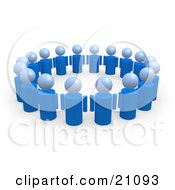 Clipart Illustration Of A Group Of Blue People Standing In A Circle Of Support