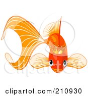 Royalty Free RF Clipart Illustration Of A Cute Goldfish Wearing A Golden Crown by Pushkin
