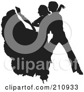 Royalty Free RF Clipart Illustration Of A Black Dancer Couple Silhouette Version 1