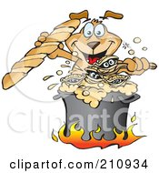 Royalty Free RF Clipart Illustration Of A Sparkey Dog Holding Bread And Cooking Clam Chowder by Dennis Holmes Designs