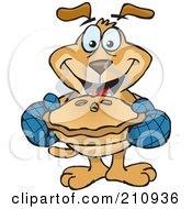 Royalty Free RF Clipart Illustration Of A Sparkey Dog Holding Out A Hot Pie by Dennis Holmes Designs