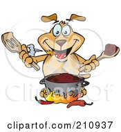 Royalty Free RF Clipart Illustration Of A Sparkey Dog Cooking Spicy Chili by Dennis Holmes Designs