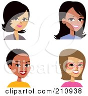 Royalty Free RF Clipart Illustration Of A Digital Collage Of Four Professional Female Avatars