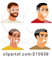 Royalty Free RF Clipart Illustration Of A Digital Collage Of Four Smiling Male Avatars 6 by Monica