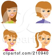 Royalty Free RF Clipart Illustration Of A Digital Collage Of Four Blond Female Avatars by Monica