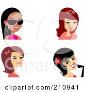 Royalty Free RF Clipart Illustration Of A Digital Collage Of Four Fashionable Female Avatars by Monica