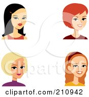 Royalty Free RF Clipart Illustration Of A Digital Collage Of Four Young Female Avatars by Monica