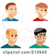 Royalty Free RF Clipart Illustration Of A Digital Collage Of Four Smiling Male Avatars 4 by Monica