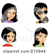 Royalty Free RF Clipart Illustration Of A Digital Collage Of Four Black Haired Women Avatars by Monica
