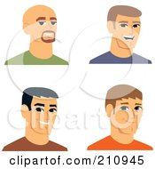 Royalty Free RF Clipart Illustration Of A Digital Collage Of Four Smiling Male Avatars 3 by Monica