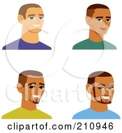 Royalty Free RF Clipart Illustration Of A Digital Collage Of Four Smiling Male Avatars 7 by Monica