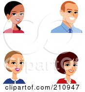 Royalty Free RF Clipart Illustration Of A Digital Collage Of Male And Female Business Avatars by Monica