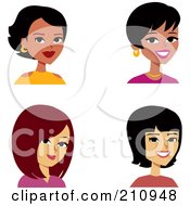 Royalty Free RF Clipart Illustration Of A Digital Collage Of Four Beautiful Female Avatars by Monica