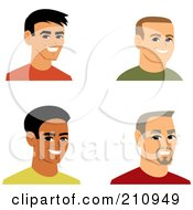 Royalty Free RF Clipart Illustration Of A Digital Collage Of Four Smiling Male Avatars 5 by Monica