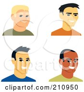 Royalty Free RF Clipart Illustration Of A Digital Collage Of Four Smiling Male Avatars 2 by Monica