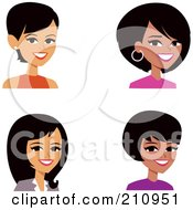 Royalty Free RF Clipart Illustration Of A Digital Collage Of Four Professional Women Avatars by Monica