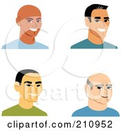 Royalty Free RF Clipart Illustration Of A Digital Collage Of Four Smiling Male Avatars 1 by Monica