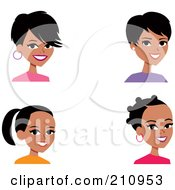 Royalty Free RF Clipart Illustration Of A Digital Collage Of Four Black Women Avatars by Monica