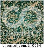 Royalty Free RF Clipart Illustration Of An Ornate Background Of Beige Flourishes Over Teal by OnFocusMedia