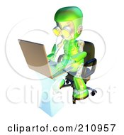 Royalty Free RF Clipart Illustration Of A 3d Green Robot Character Using A Laptop At A Desk