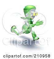Royalty Free RF Clipart Illustration Of A 3d Green Robot Character Sweating And Sprinting by AtStockIllustration