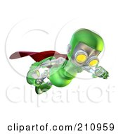 Royalty Free RF Clipart Illustration Of A 3d Green Robot Character Super Hero Flying And Looking Down