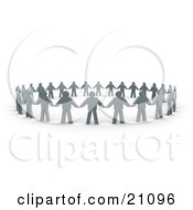 Clipart Illustration Of A Circle Of Flat Gray People And Their Shadows Holding Hands And Providing Support