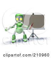 3d Green Robot Character Teaching In Front Of A Board