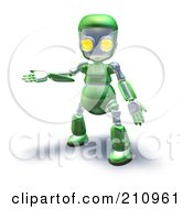 3d Green Robot Character Presenting To The Left