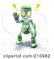 3d Green Robot Character Holding A Hand Up To Stop